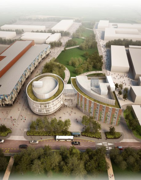 Artist impression birds eye view of Roslin Innovation Centre