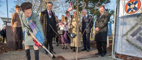 Her Royal Highness The Princess Royal planting a tree