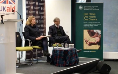 Photo of Bill Gates and Secretary of State Penny Mordaunt on stage at Roslin Innovation Centre - credit Roslin Innovation Centre