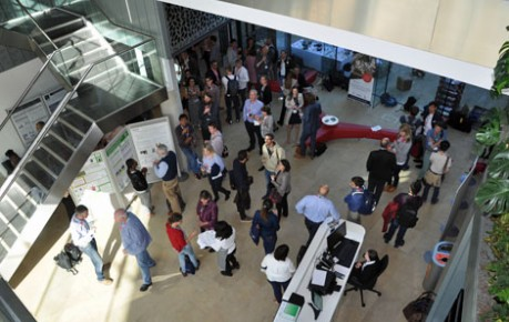 photo of Big data delegates reception in atrium of Charnock Bradley Building - image credit Roslin Innovation Centre