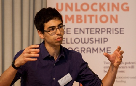 photo of Thomas Farrugia of Beta Bugs presenting at RSE Unlocking Ambition Challenge - image credit Royal Society of Edinburgh