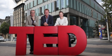 Photo outside EICC with TED 3D letter of Neil Brownlee, Head of Business Events, VisitScotland; Marshall Dallas, Chief Executive, EICC and Amanda Ferguson, Head of Business Tourism at Marketing Edinburgh - credit EICC